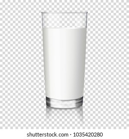 Glass of milk, isolated.