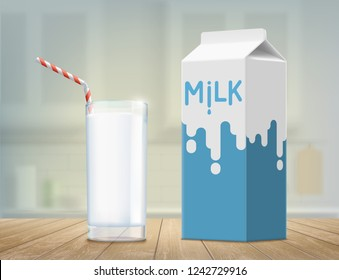 Glass with milk on the table. Package design. Vector illustration.