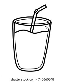 glass of milk or water / cartoon vector and illustration, black and white, hand drawn, sketch style, isolated on white background.
