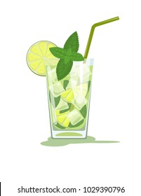 Glass of mojito cocktail with mint and straw. Vector illustration isolated on white background