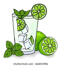 Glass of mojito, ice cubes, mint leaves, lime slice and whole lime. Hand drawing alcohol cocktail. Vector illustration in cartoon style. Summer green drink. Cold mojito cocktail poster.