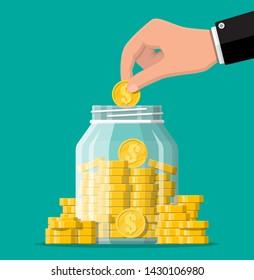 Glass money jar full of gold coins and hand. Saving dollar coin in moneybox. Growth, income, savings, investment. Symbol of wealth. Business success. Flat style vector illustration.