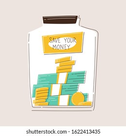 Glass money jar full of gold coins and bills. Saving dollar coin in moneybox. Growth, income, savings, investment. Symbol of wealth. Business success. Flat style vector illustration.