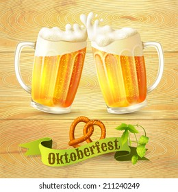 Glass mug of beer pretzel and hop branch on wooden background Oktoberfest poster vector illustration
