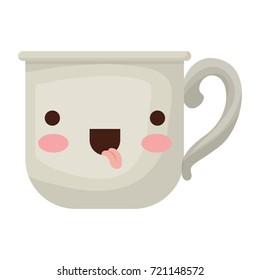 glass mug of coffee with handle colorful kawaii silhouette vector illustration