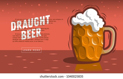 Glass Mug Of Draft Beer With Foam. Vector Image.