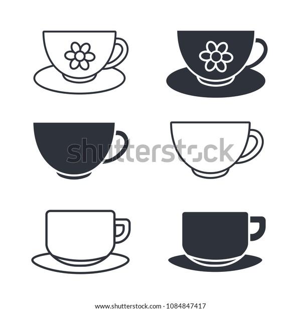 glass, mug icon coffee and tea logo