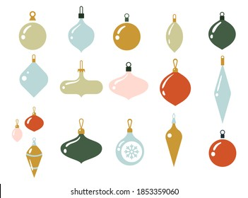 Glass multi-colored balls for the Christmas tree. Xmas glass ball on white background. Holiday decoration template. Vector illustration. Christmas decoration baubles. New year toys.