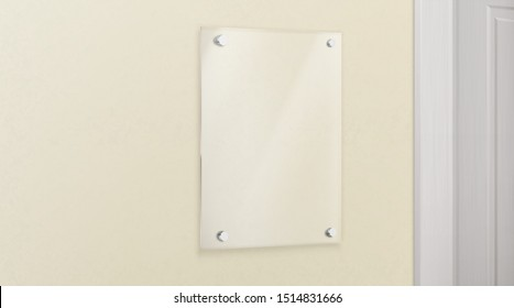 Glass name plate bolted to wall in office. Empty plexiglass image or photo frame template. Transparent display panel mockup. Hanging banner acrylic holder near doorway 3d realistic vector illustration