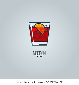 glass of negroni cocktail vector icon