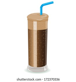 Glass of Nescafe frappe instant iced coffee, a cold summer drink very popular in Greece. Vector illustration.