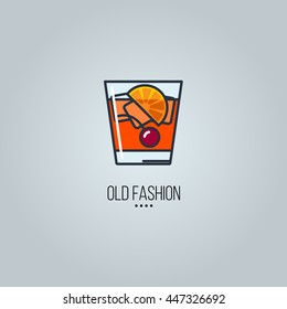 glass of old fashion cocktail vector icon