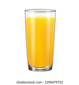 Glass with orange juice isolated on white background. Vector