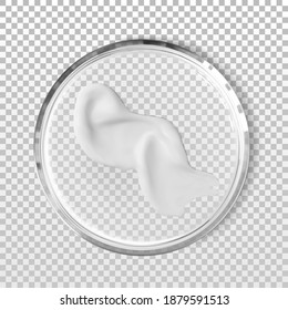 Glass petri dish with wavy cosmetic cream stroke smear isolated realistic vector illustration. Concept laboratory tests and research