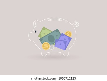 A glass piggy bank with paper money and coins inside, transparent banking service, financial industry