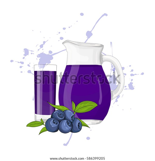 Glass Pitcher Glass Blueberry Juice Vector Stock Vector (Royalty