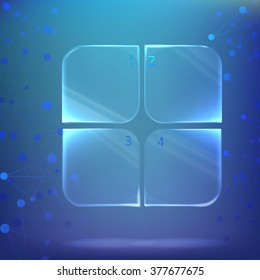 glass / plastic square with rounded corners, the plate with numbers under water on a background of chemical  biological compounds