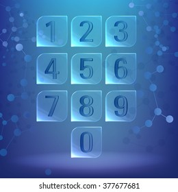 Glass \ plastic square with rounded corners. Sheet with numbers under water, on chemical \ biological background