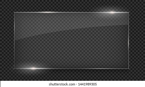Glass plate, glass banner, glass frame isolated on transparent background. Photo realistic vector illustration