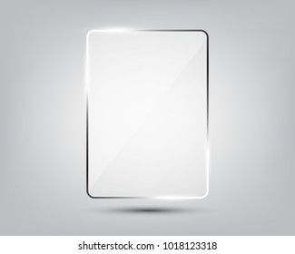 Glass plate on gradient background. See through mock up square shape. Vector elements with glares and highlights. Realistic glossy rectangle, plate, framework, plane illustration.