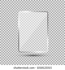 Glass plate on transparent background. See through mock up square shape. Vector elements with glares and highlights. Realistic glossy rectangle, framework, plane illustration.
