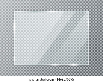 Glass plate on transparent background. Acrylic and glass texture with glares and light. Realistic transparent glass window in rectangle frame. Vector