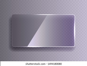 Glass plate on transparent background. See through mock up square shape. Vector elements with glares and highlights.