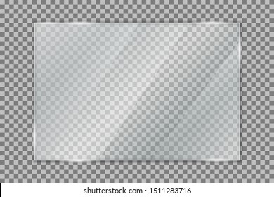 Glass plate on transparent background, clear glass showcase, realistic window mockup, acrylic and glass texture with glares and light, realistic transparent glass window in rectangle frame – vector
