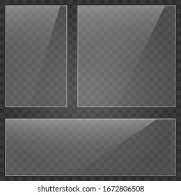 Glass plate on transparent background. Acrylic and glass texture with glares and light. Realistic transparent glass window in rectangle frame. Vector.