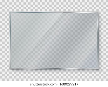 Glass plate on transparent background, clear glass showcase, realistic window mockup, acrylic and glass texture with glares and light, realistic transparent glass window in rectangle frame – vector fo