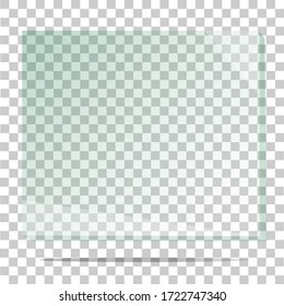 Glass plate on transparent background. Acrylic and glass texture with glares and light. Realistic transparent glass window. Vector