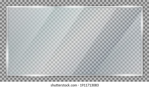 Glass plate on transparent background, clear glass showcase, realistic transparent window mockup in rectangle frame, glass texture with glares and light - vector