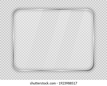 Glass plate in rounded rectangular frame isolated on transparent background. Vector illustration.
