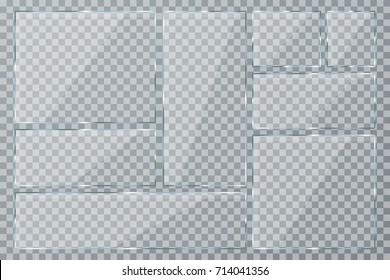 Glass plate set on transparent background. Clear glass showcase. Realistic window mockup collection. Vector