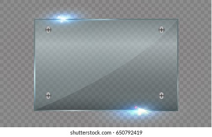 glass plate. Vector glass banners on a transparent background.transparency.for publicity.