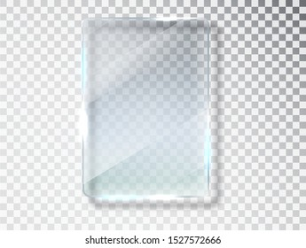 Glass plates. Glass banners isolated on transparent background. Flat glass. Realistic texture with highlights and glow on the transparent.