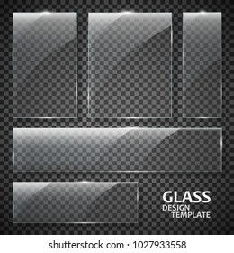 Glass plates set. Glass banners isolated on transparent background. Graphic concept for your design.