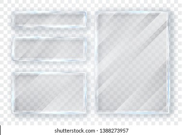 Glass plates set. Glass banners on transparent background. Flat glass. Vector illustration.