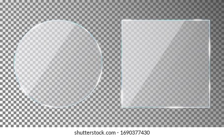 Glass plates set in circle and square shape on transparent background. Acrylic or plexiglass plate with gleams and light reflections. Vector illustration.