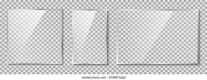 Glass plates set. Glass on transparent background vector illustration
