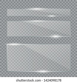 Glass plates set. Vector glass banners. Set of glass plates. Clear glass showcase. Realistic