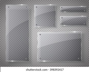 Glass plates set. Vector glass banners on transparent background.