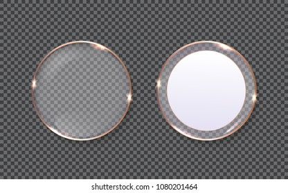 Glass plates shapes with copper edging isolated on simulated transparent checkered background Web banner templates with space for text Realistic vector illustration EPS10
