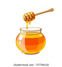 A glass pot full of honey and honey dipper. Vector illustration cartoon flat icon isolated on white.