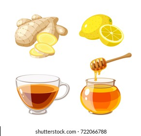 A glass pot full of honey, honey dipper, sliced ginger, lemon and cup of tea. Vector illustration cartoon flat icon isolated on white.