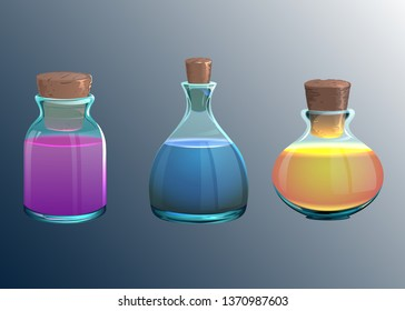 Glass potion bottles. Vector containers with liquid. Cartoon illustrations