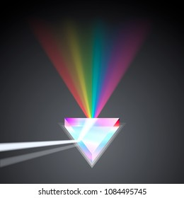 Glass prism spectral rainbow art. Vector illustration