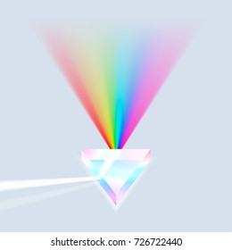 Glass prism spectral rainbow. Vector illustration