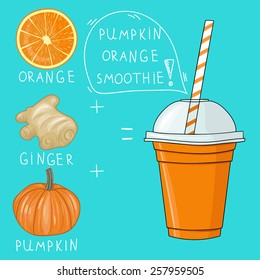 Glass with pumpkin orange smoothie. Natural bio drink, healthy organic food. Hand drawn vector illustration in doodle style isolated on background.
