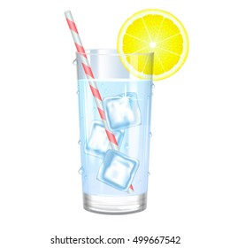 Glass of pure water with ice and lemon. Vector illustration